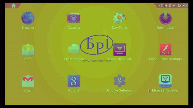 Banana PI アプリケーション画面