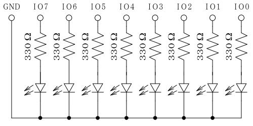 USBGPIO8によるLED点灯回路