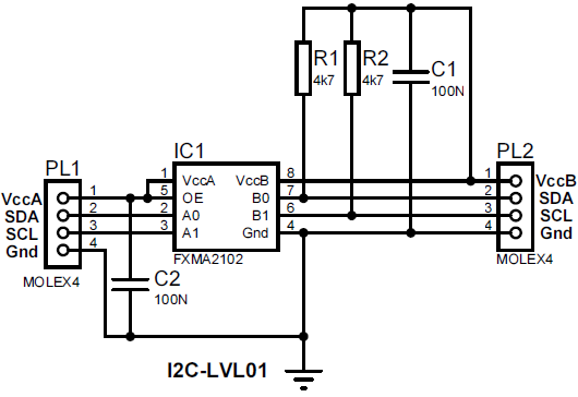 I2C電圧変換回路図
