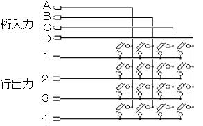マトリックスキーボードの回路図