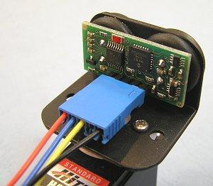 超音波センサーをRCサーボに取り付けた例